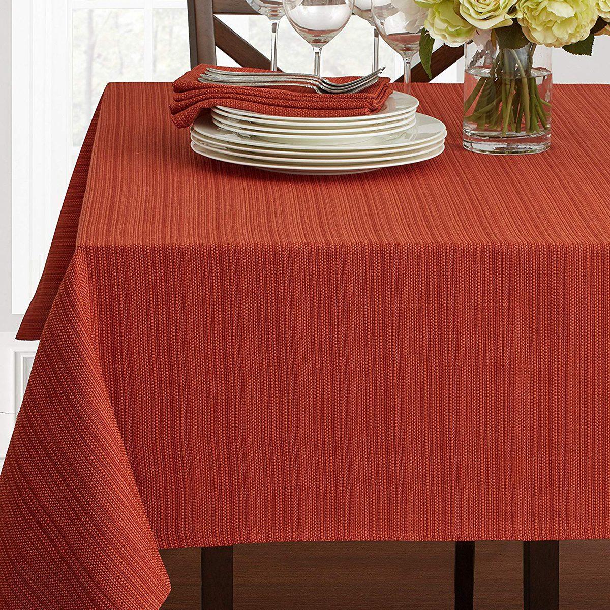 "Textured Fabric Tablecloth, Bison, 60"" x 104"" Rectangular"