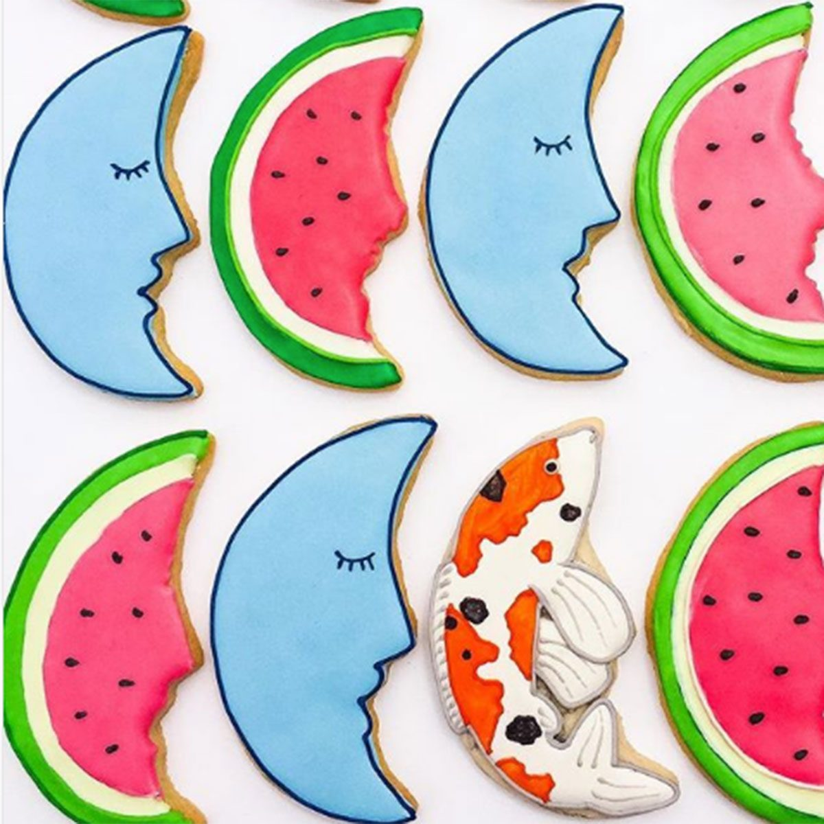 Watermelon and moon cookies