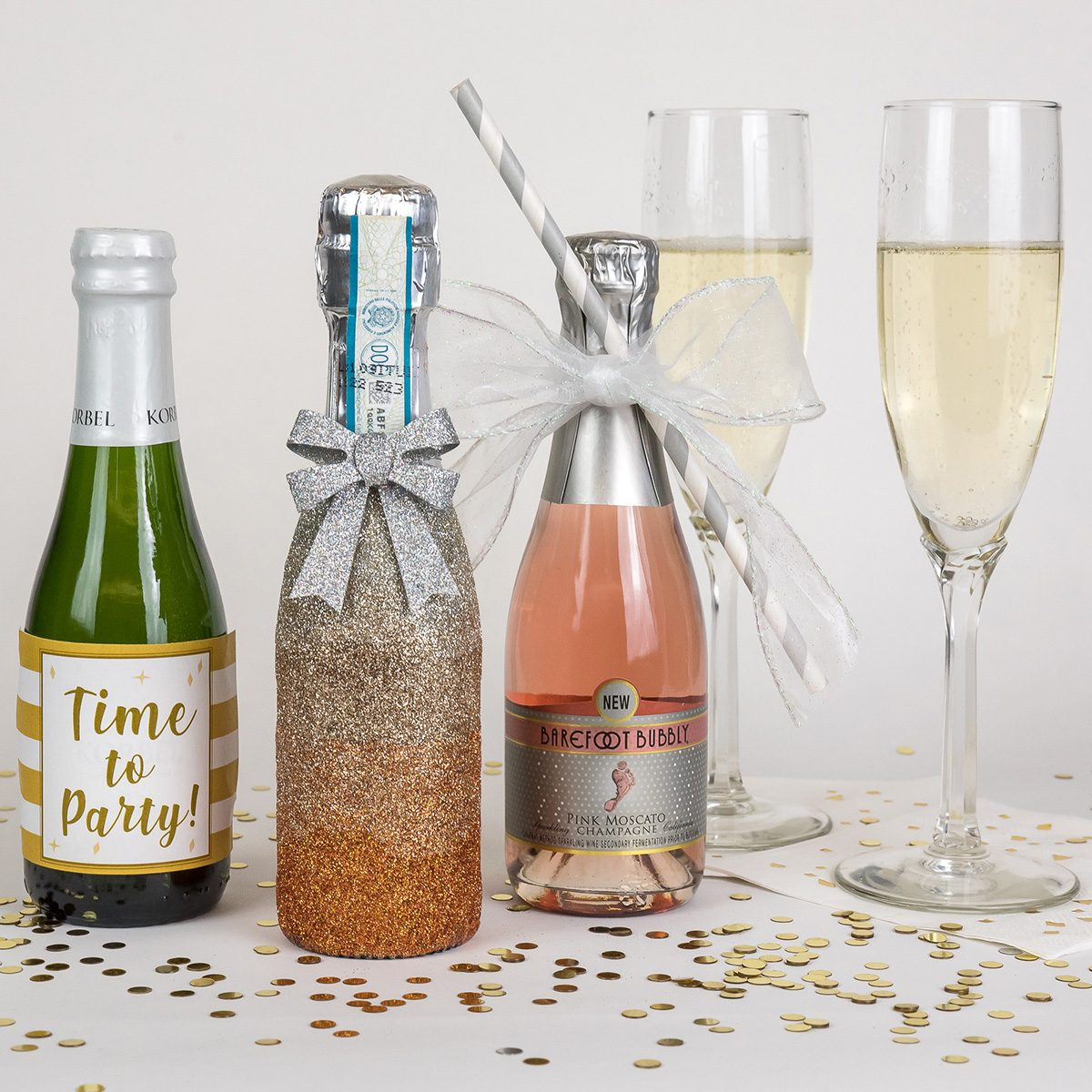 9aef833f0969 7 Ways to Decorate Mini Champagne Bottles | Taste of Home