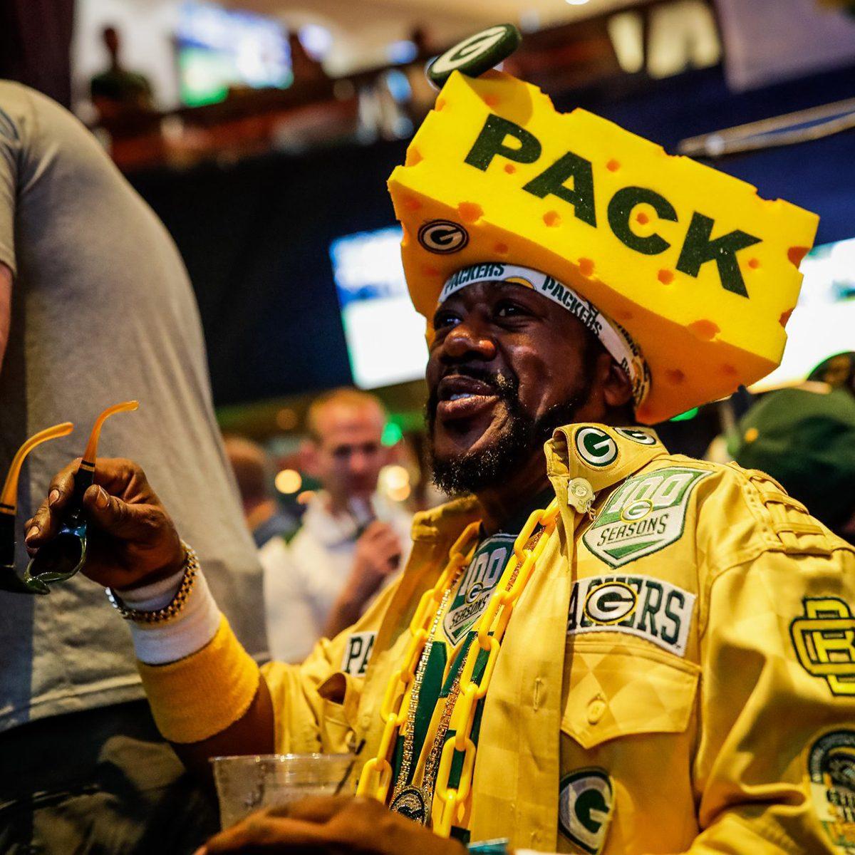 Green Bay Packer fan all decked out