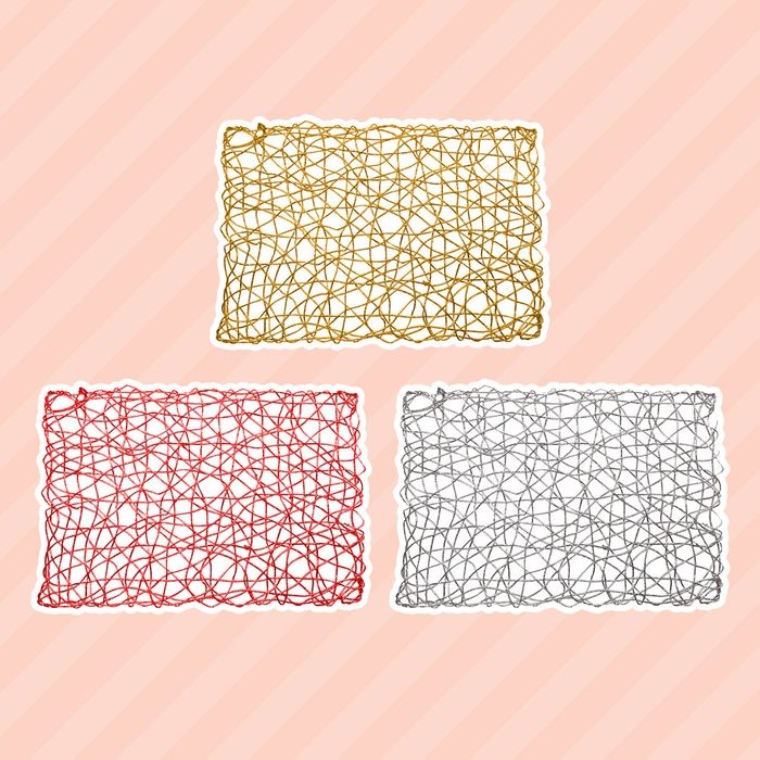 """Holiday Decorative 12""""x18"""" Rectangle Woven Metallic Foil Shining Placemats"""