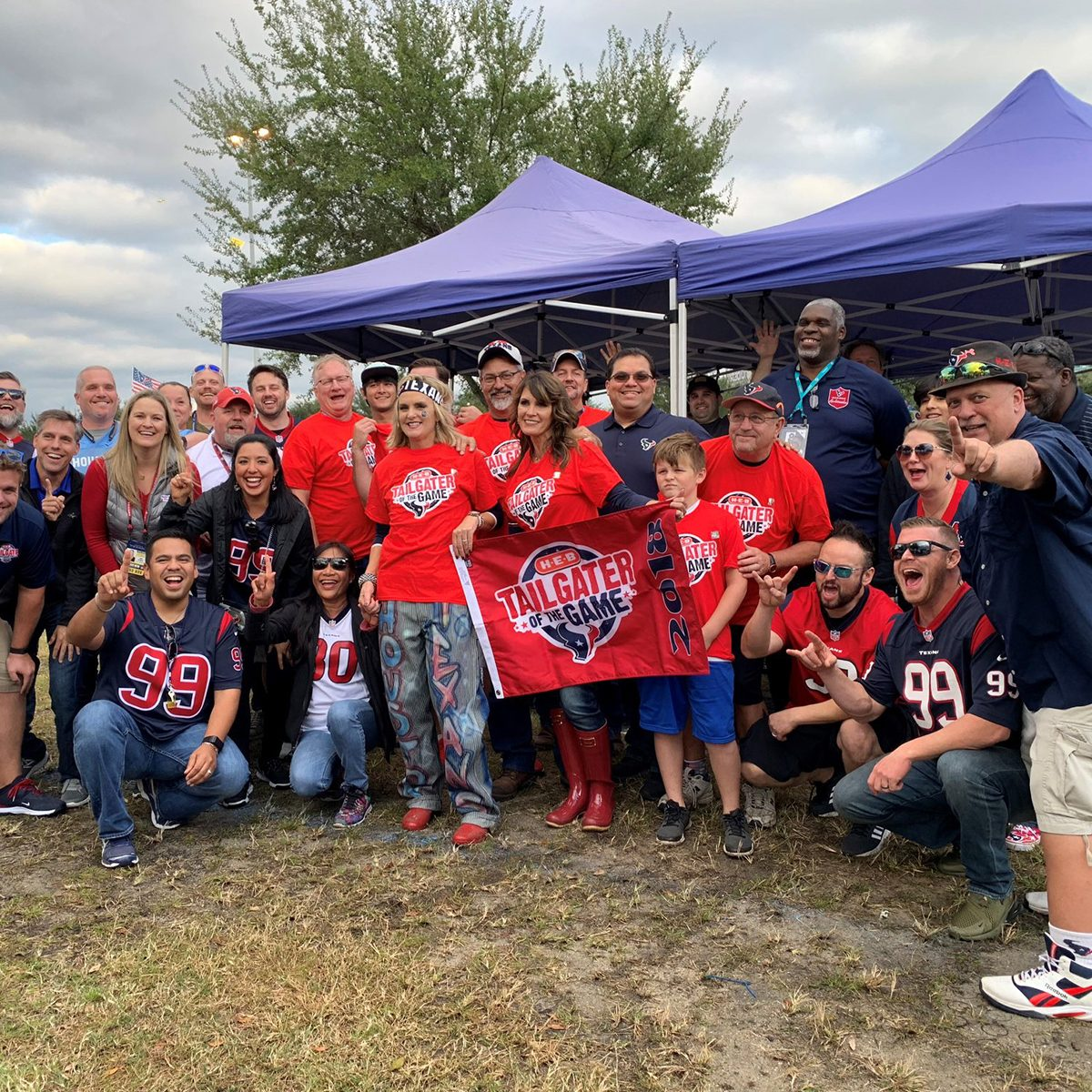 Houston Texans fans posing for picture