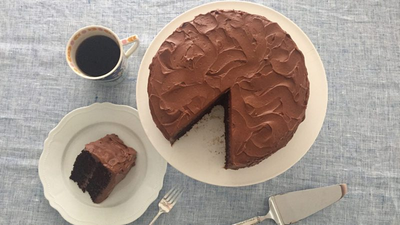we tried Ina Garten's chocolate cake