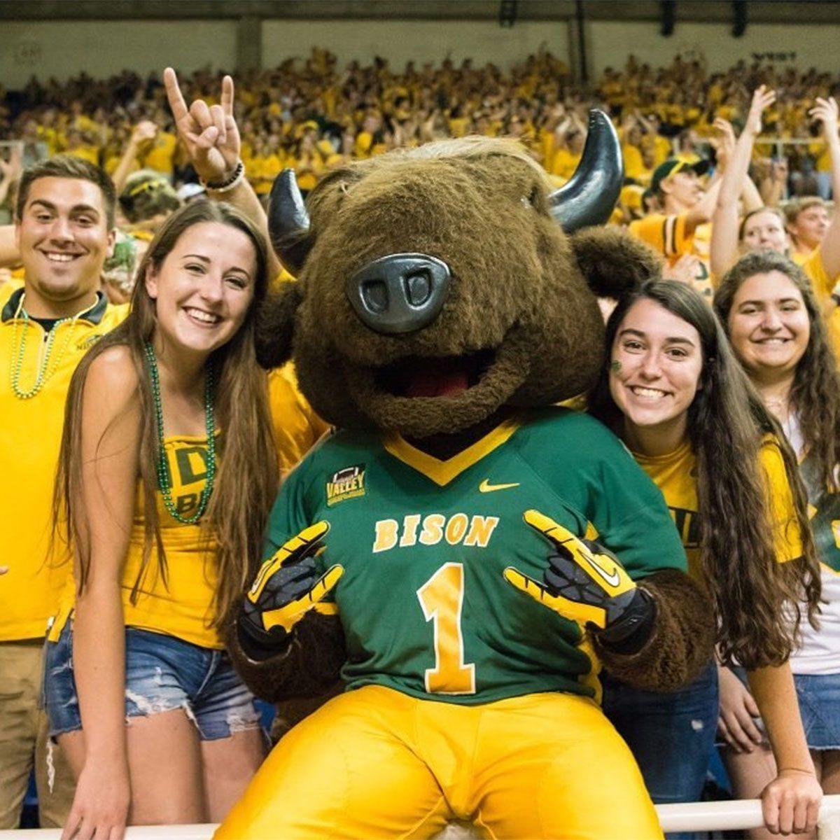 North Dakota State fans posing with mascot