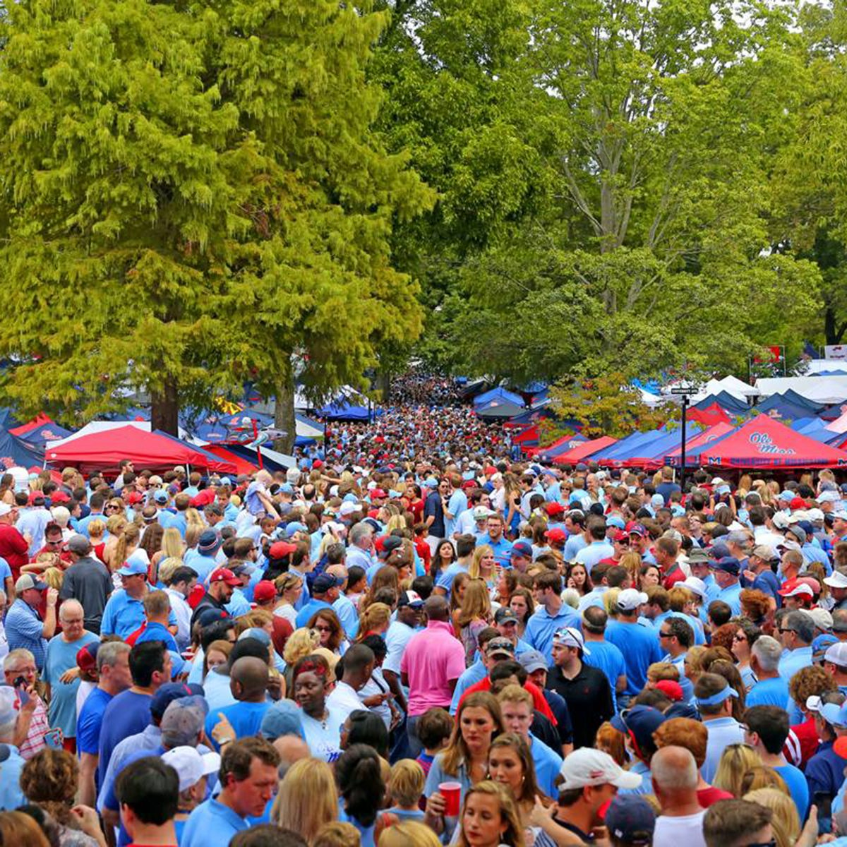 University of Mississippi fan filling the street