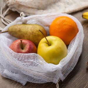 Zero waste, plastic free recycled textile produce bag for carrying fruit