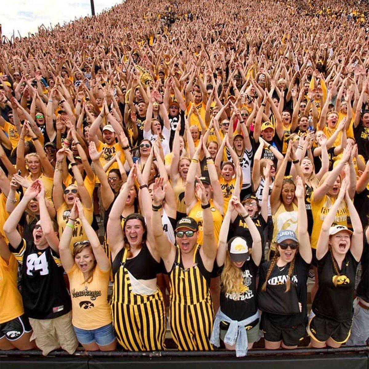 University of Iowa fans cheering
