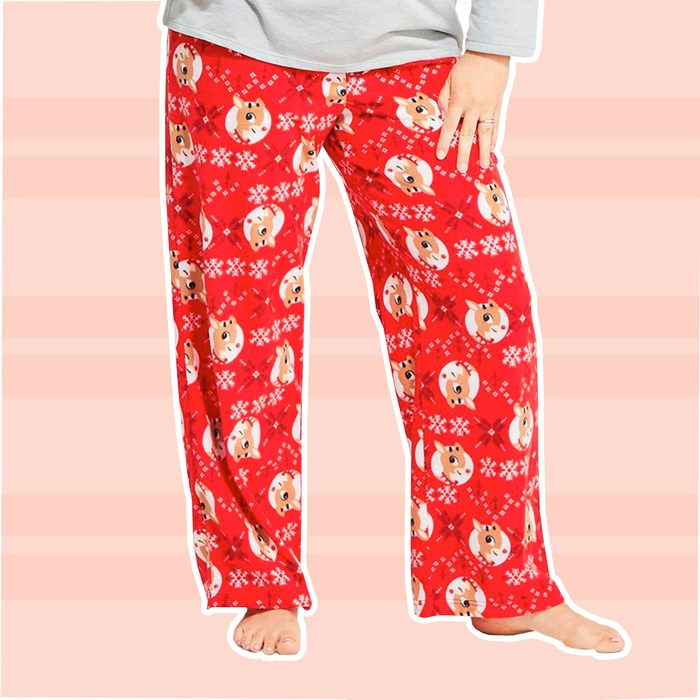 Women's Holiday Rudolph the Red-Nosed Reindeer Fleece Pajama Pants red