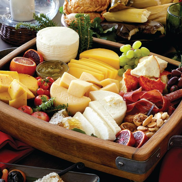 cacique cheese platter of Mexican cheeses and snacks