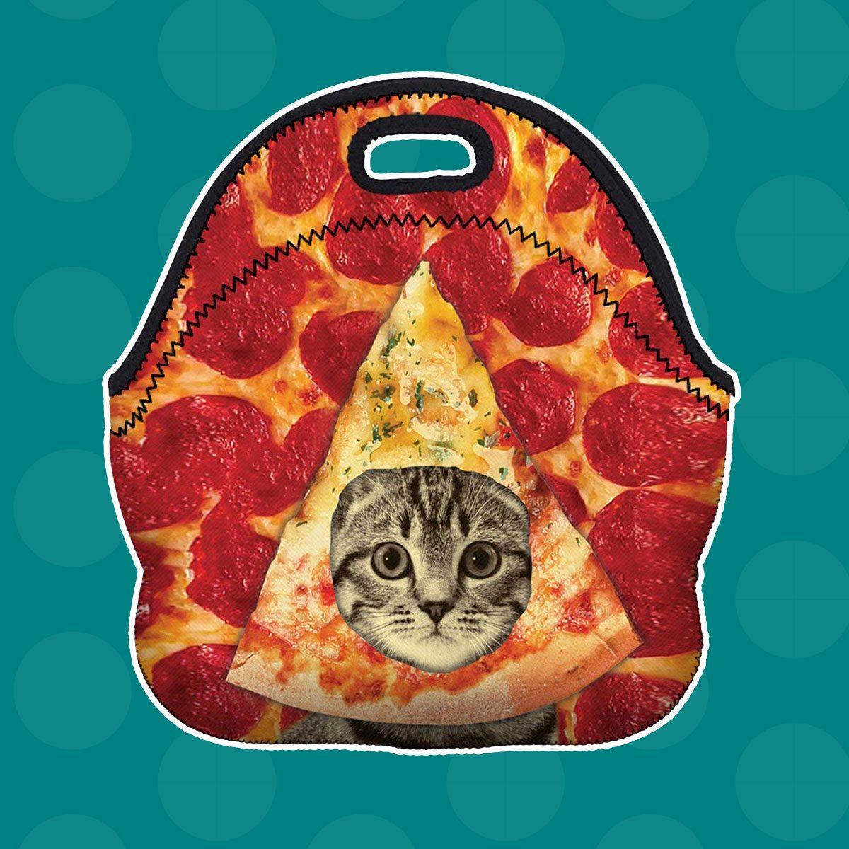 Pizza Cat Neoprene Lunch Bag