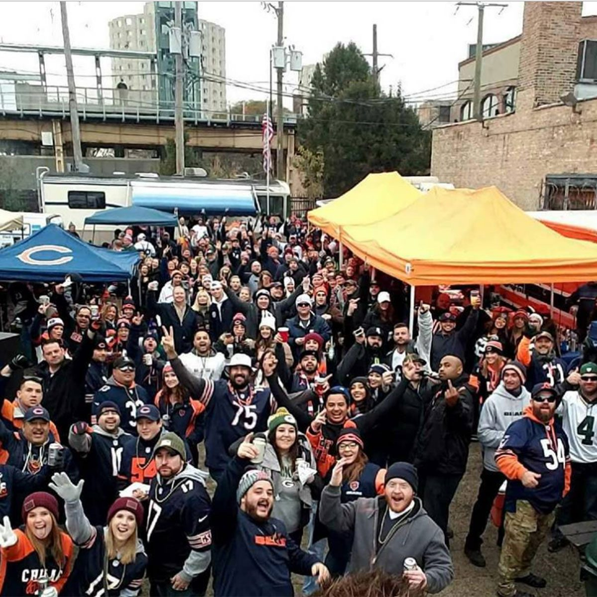 Chicago Bears fans posing for picture
