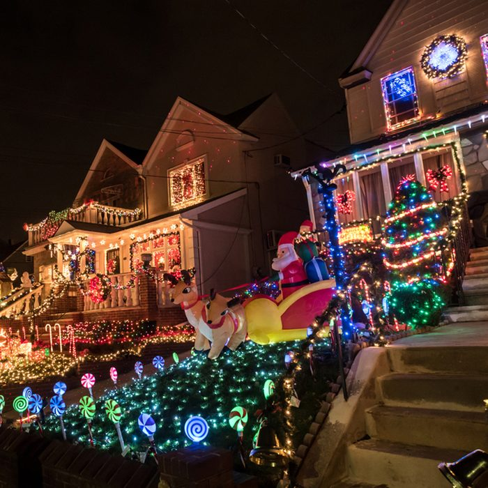 Night view of houses with Christmas Lights in the suburban Brooklyn neighborhood of Dyker Heights.