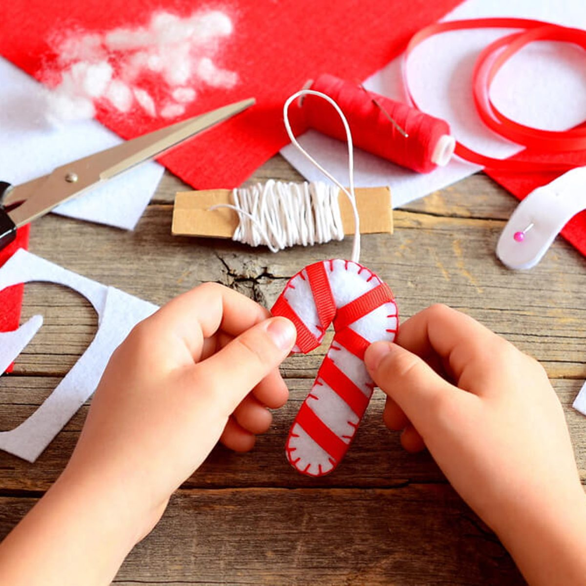 Creating a fabric candy cane