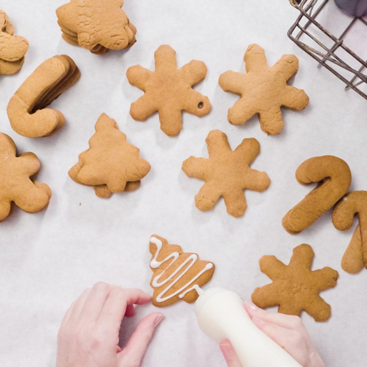 Decorating gingerbread cookies with royal icing for Christmas.