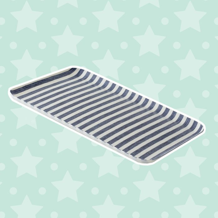 linen tray large- blue white stripe