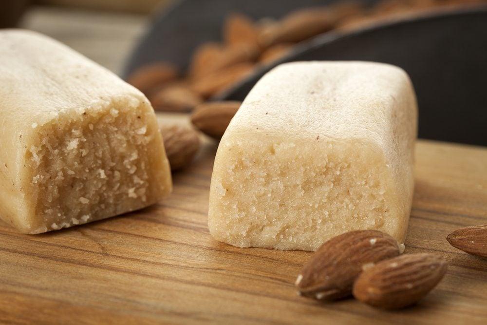 Marzipan bar in baking scene closeup with almonds; Shutterstock ID 734267716; Job (TFH, TOH, RD, BNB, CWM, CM): TOH Marzipan