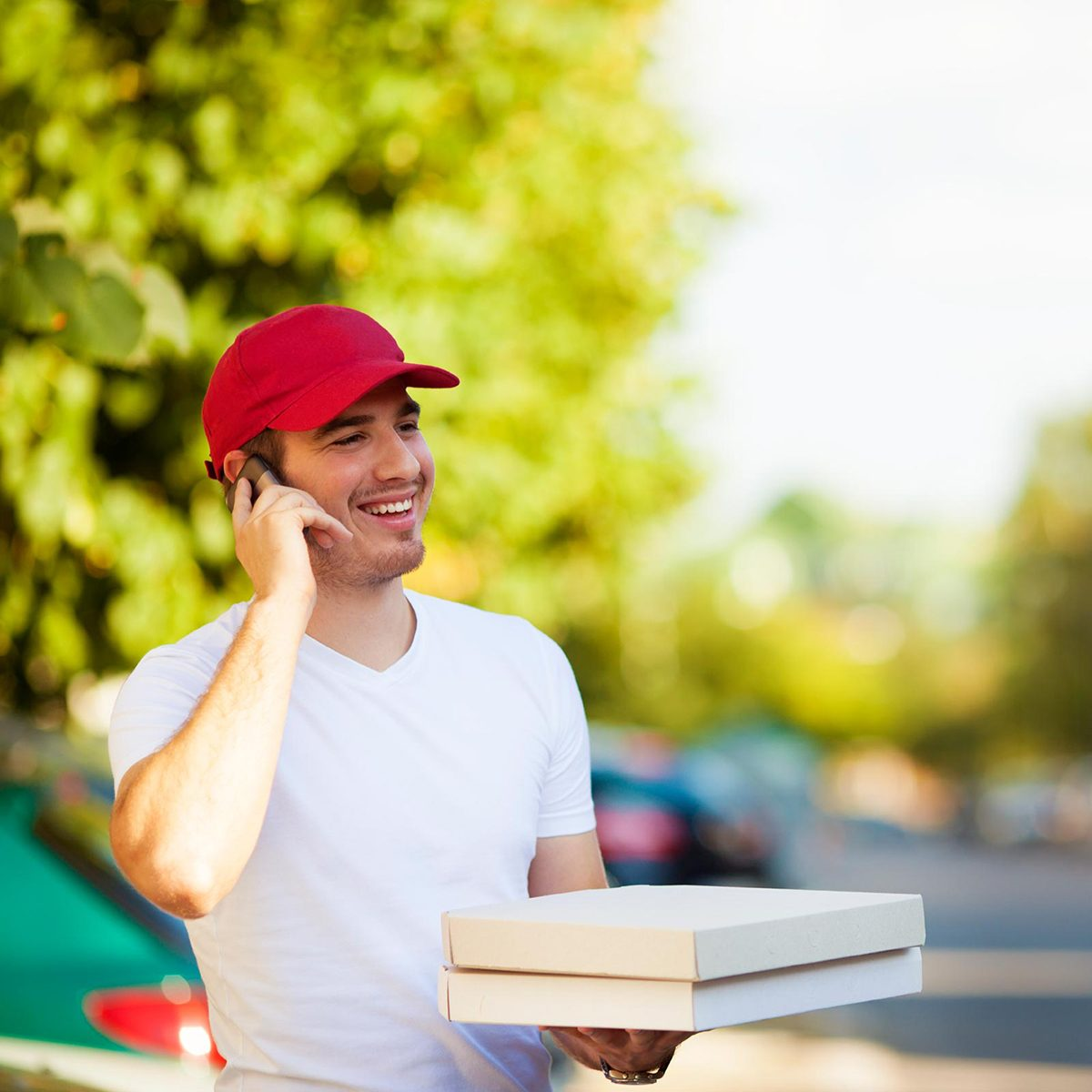 Pizza guy on phone