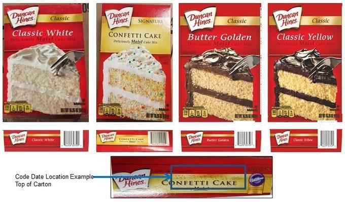 Recalled Duncan Hines cake mixes