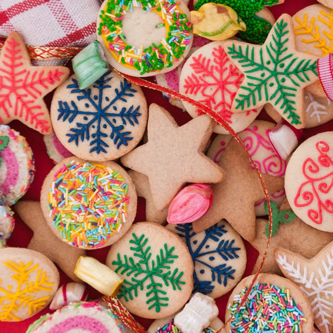 Mixed Christmas cookies /// Colorful mix of Christmas-themed decorated cookies; Shutterstock ID 115593577