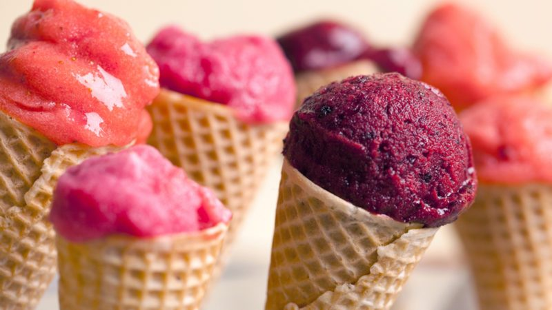 Fruit ice-cream in ice-cream cones.; Shutterstock ID 144297058; Job (TFH, TOH, RD, BNB, CWM, CM): Taste of Home