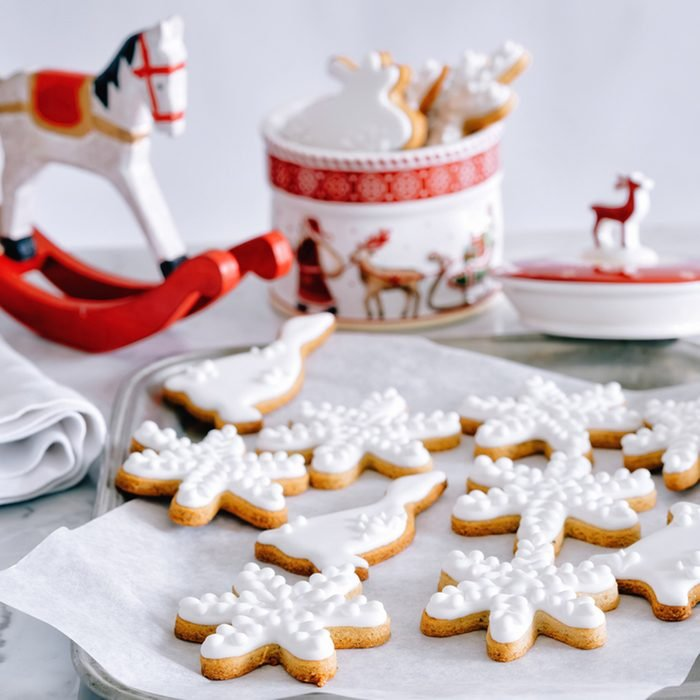 Decorated Christmas cookies on metal sheet and cookie jar; Shutterstock ID 524243692; Job (TFH, TOH, RD, BNB, CWM, CM): Taste of Home