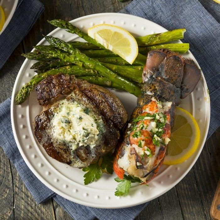 Homemade Steak and Lobster Surf n Turf with Asparagus; Shutterstock ID 684750115; Job (TFH, TOH, RD, BNB, CWM, CM): TOH