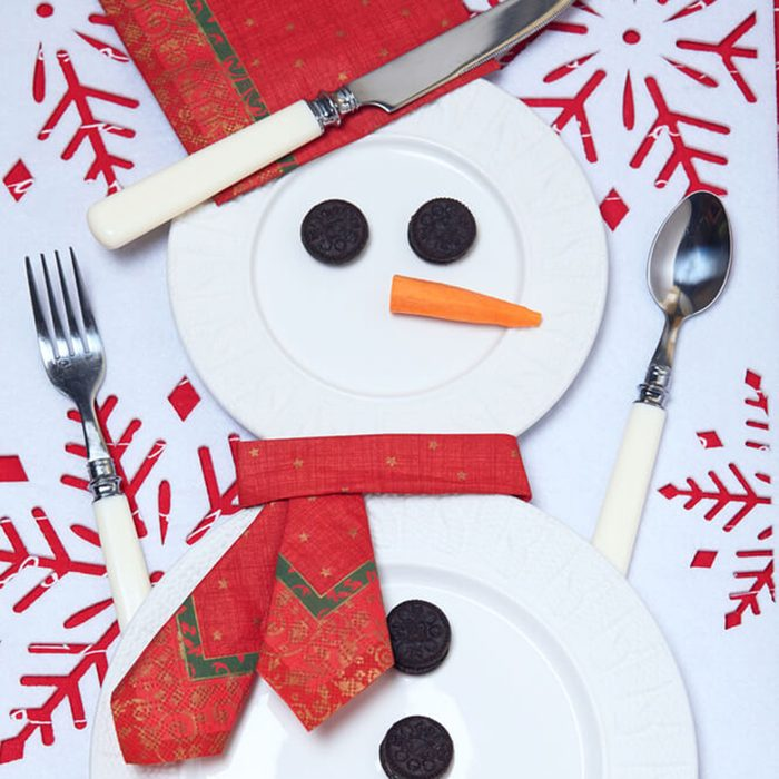 Snowman made out of plates