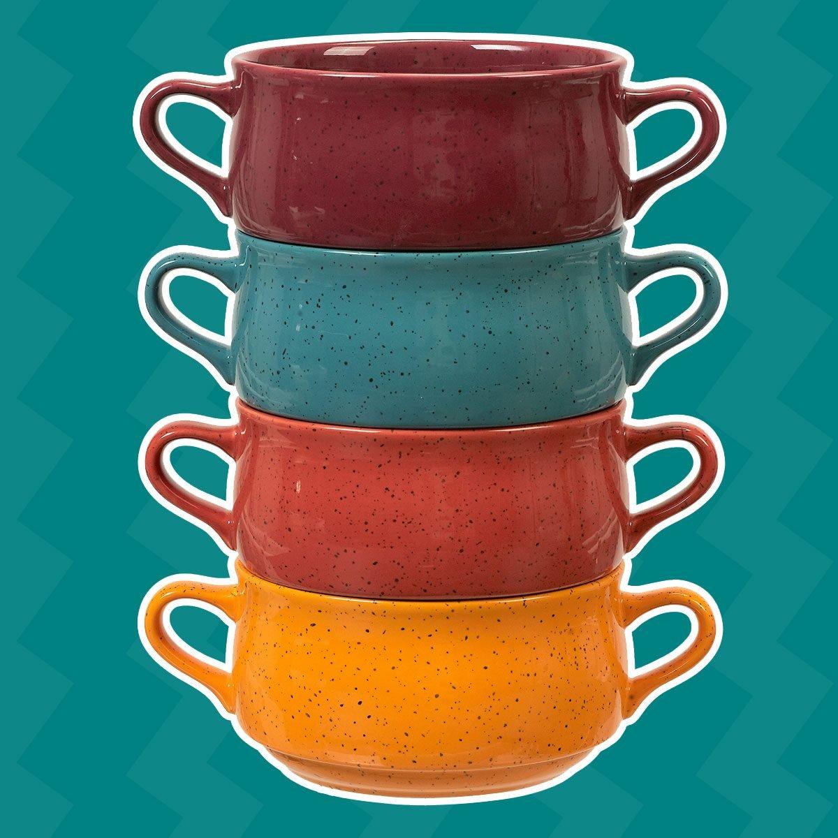 Mainstays Multi-Color Speckled Stoneware Double Handle Soup Bowls, Set of 4