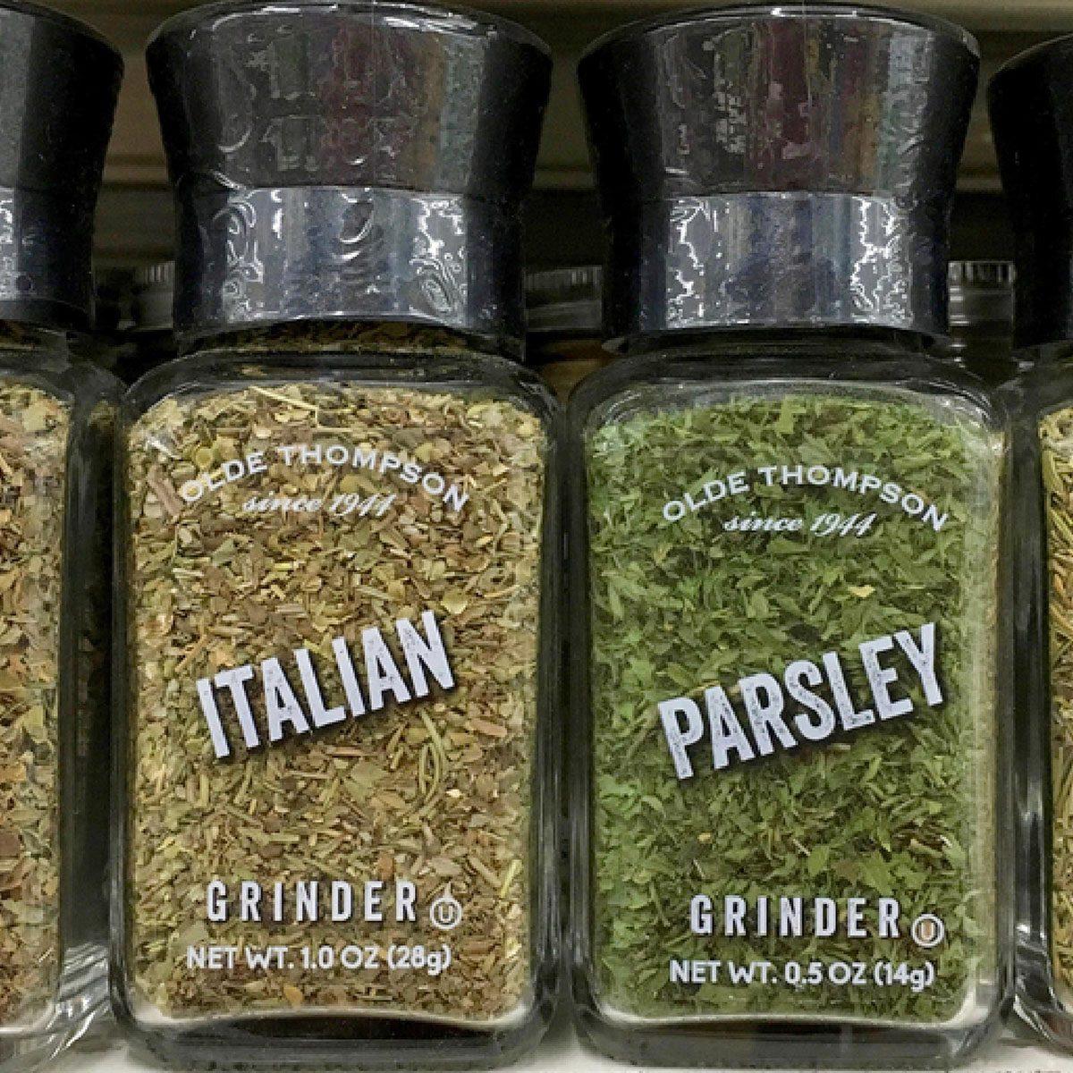 Spices on shelf