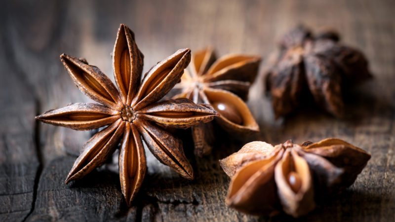 Star anise closeup against dark rustic wooden background