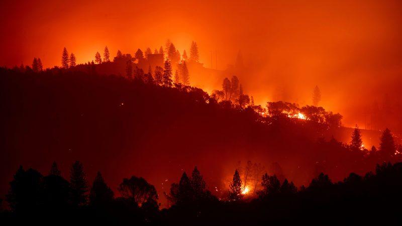 The Camp Fire burns along a ridgetop near Big Bend, Calif.