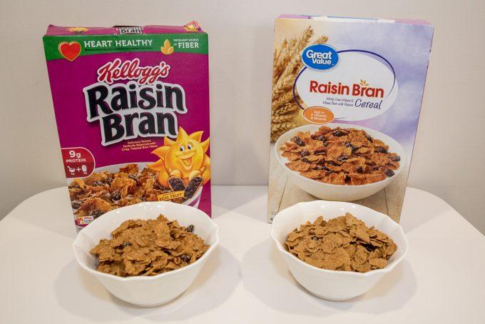 name brand vs generic raisin bran cereal