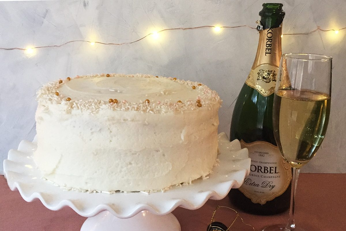 Slicing Into The Champagne Cake