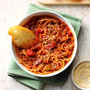 Ground Beef Spaghetti Skillet