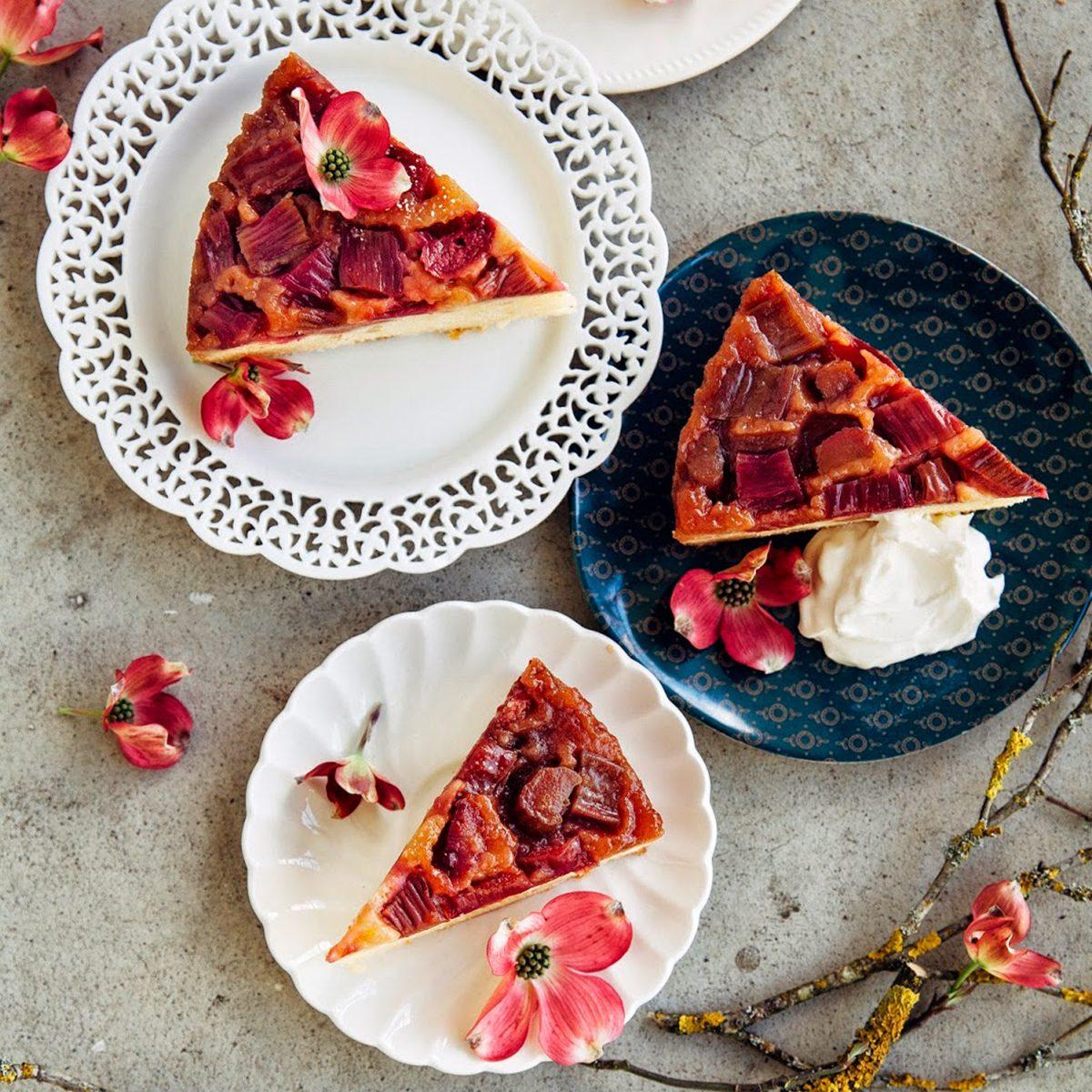 Rhubarb and Marzipan Upside Down Cake