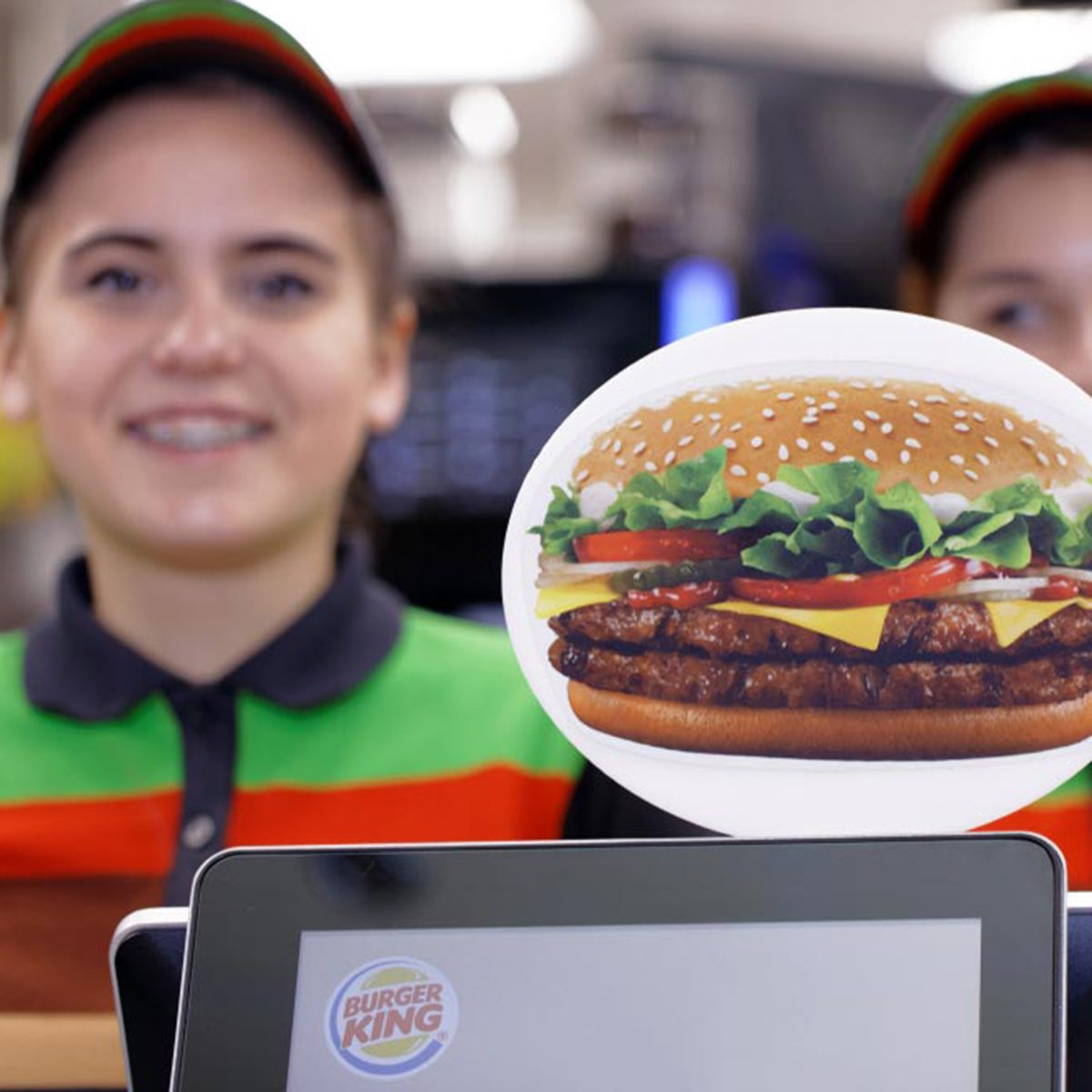 taff of 500th Burger King restaurant in Russia in the service area in the day of opening.