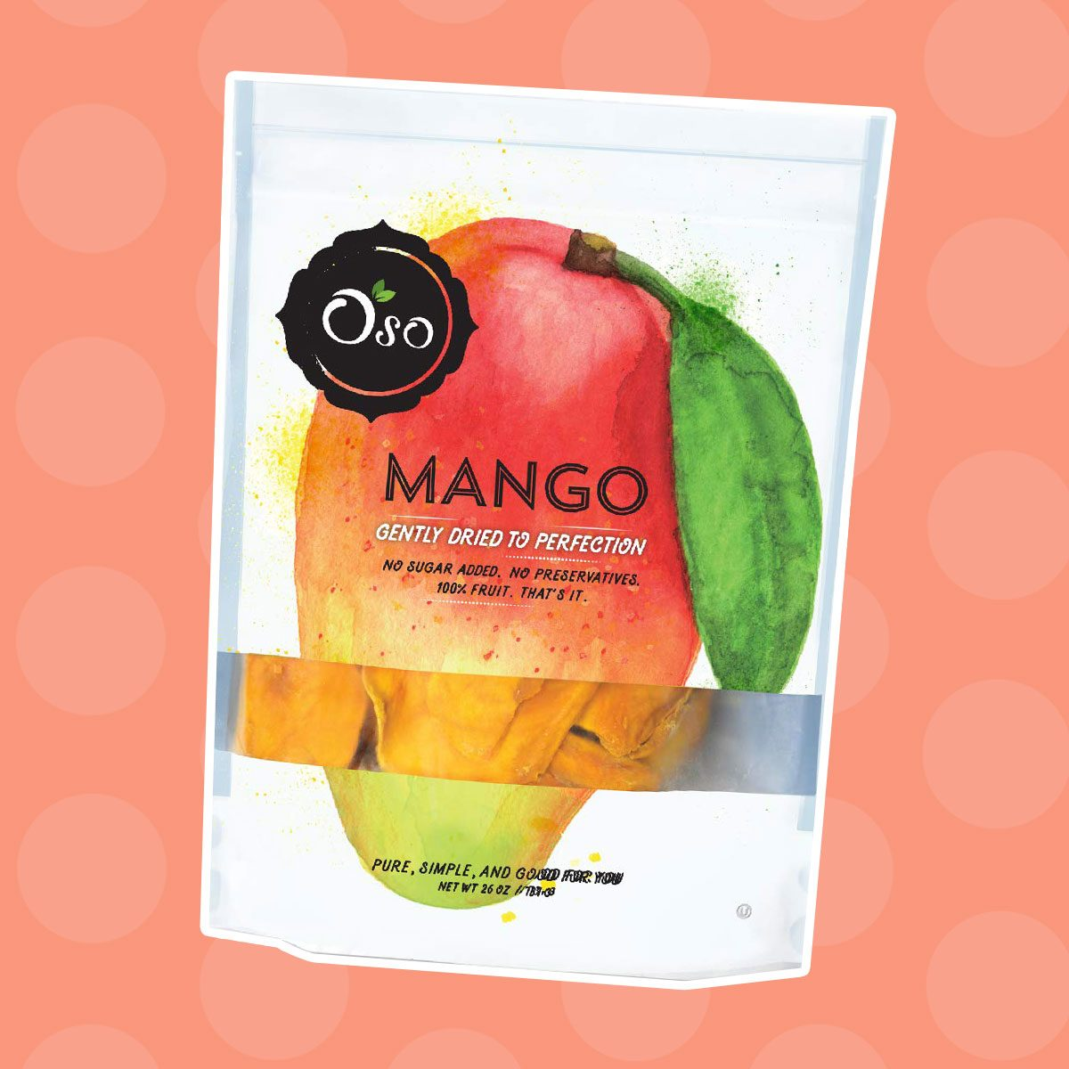 Oso Snacks Dried Mango Slices, Premium Quality, No Added Sugar or Preservatives, Big Pieces Only! 26oz