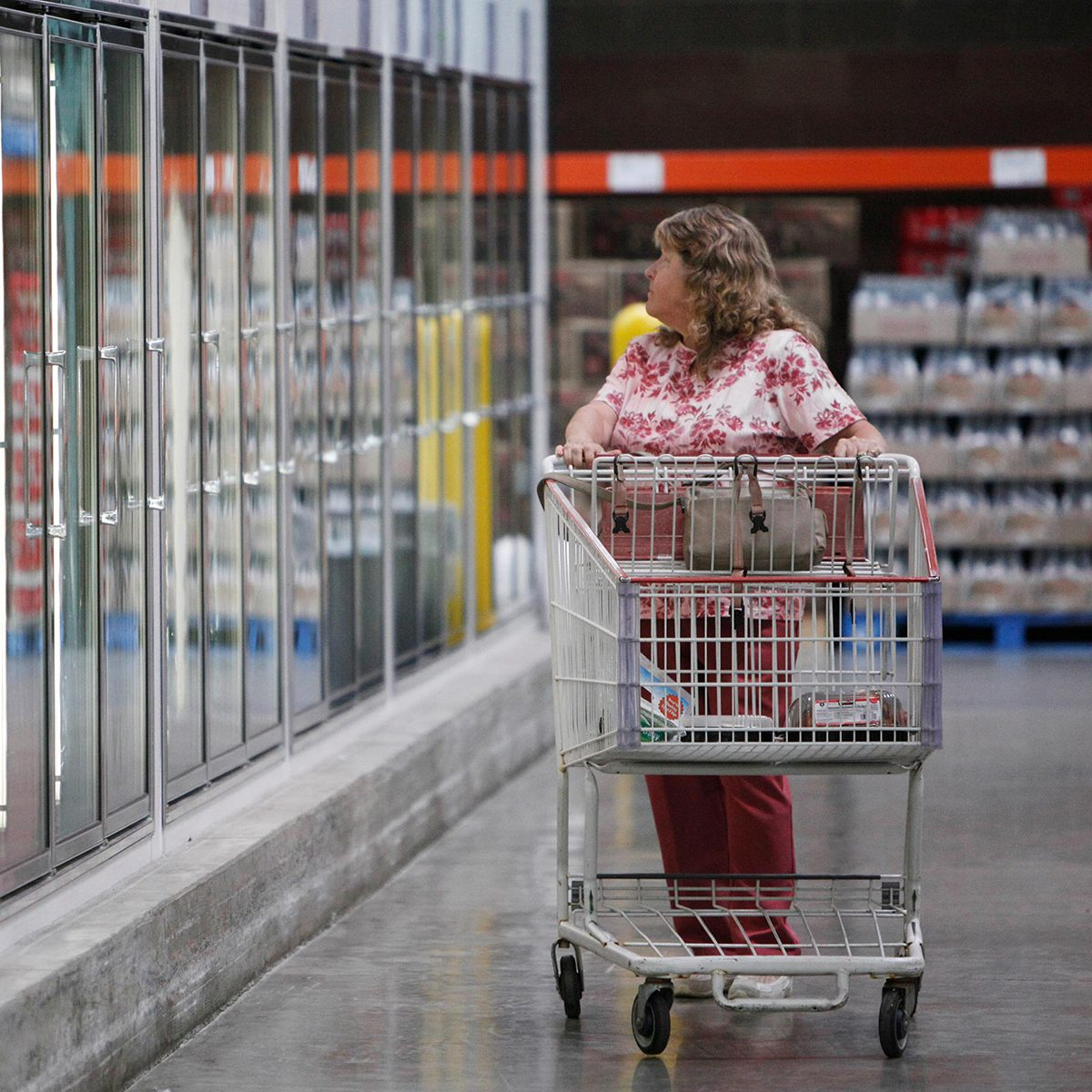 Shopper in Costco freezer section
