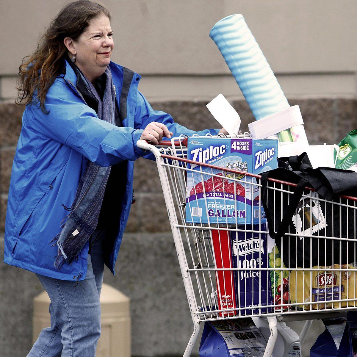 Pushing Costco cart