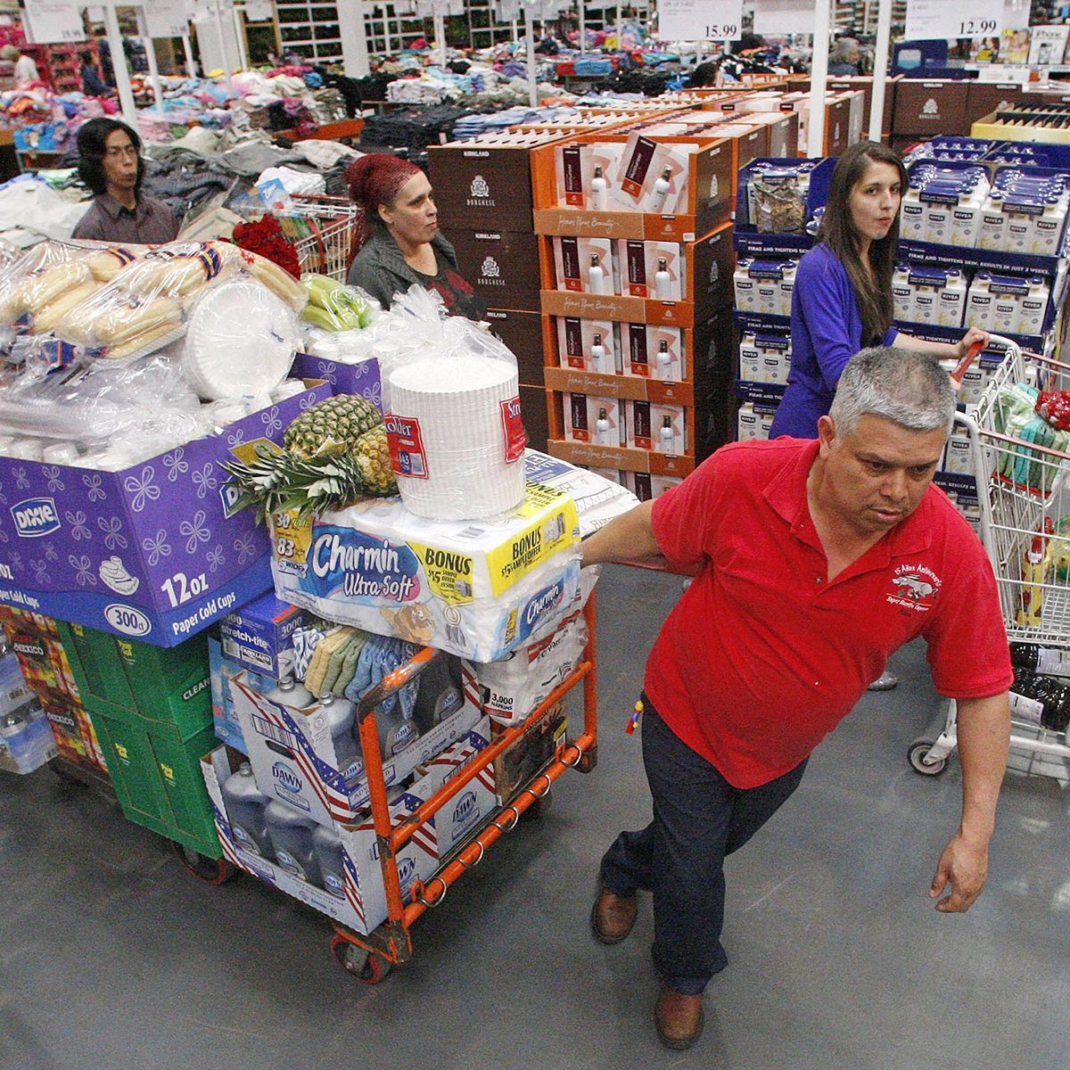 Overloaded cart at Costco