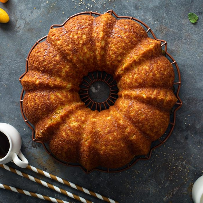 Winter citrus pound bundt cake with orange zest maple cirup; Shutterstock ID 1012626319; Job (TFH, TOH, RD, BNB, CWM, CM): TOH