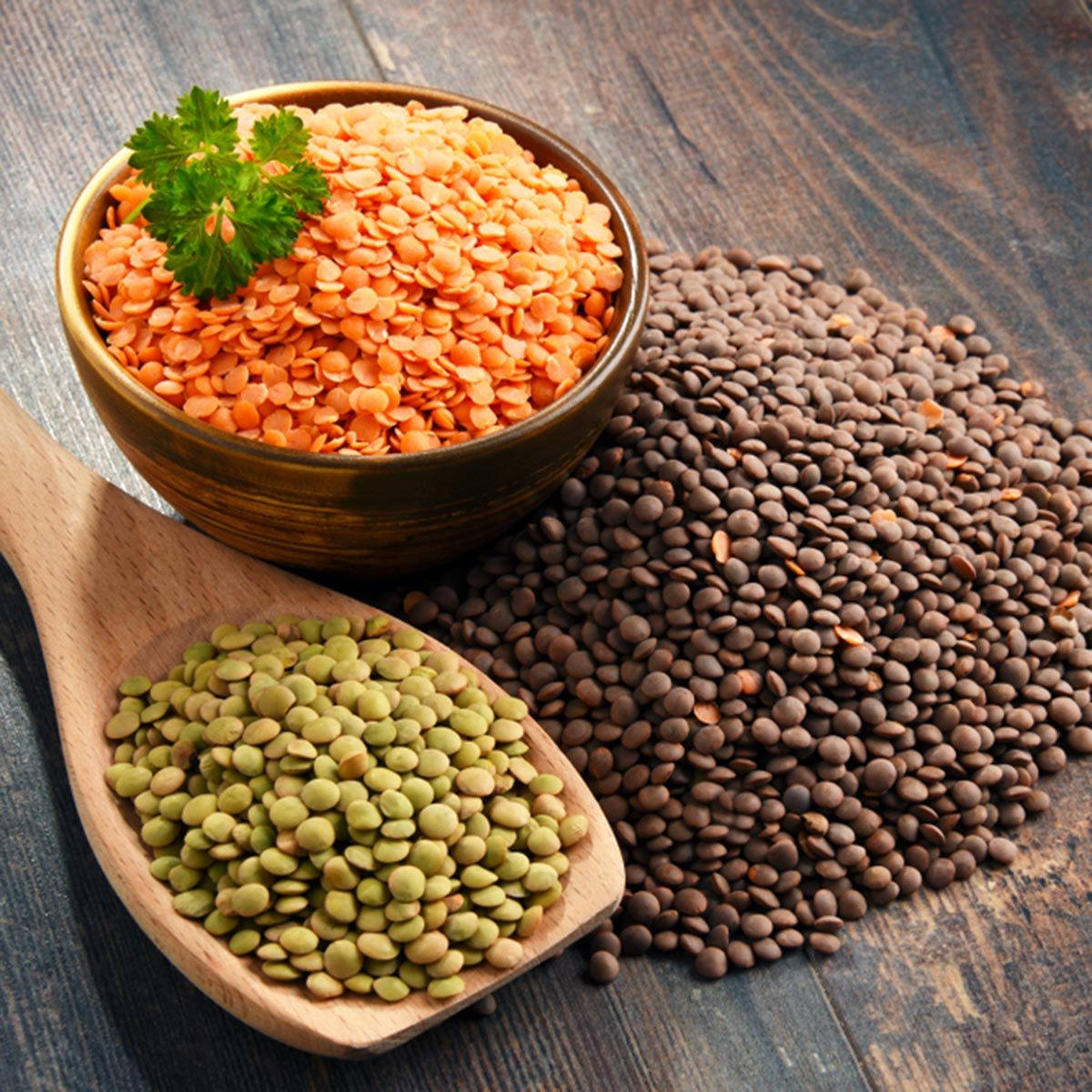 Composition with bowl of lentils on wooden table.; Shutterstock ID 1144805825; Job (TFH, TOH, RD, BNB, CWM, CM): TOH