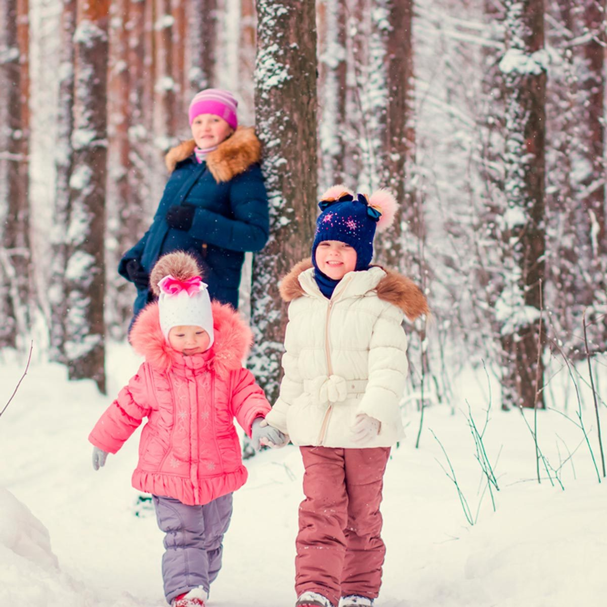 Family taking a winter hike