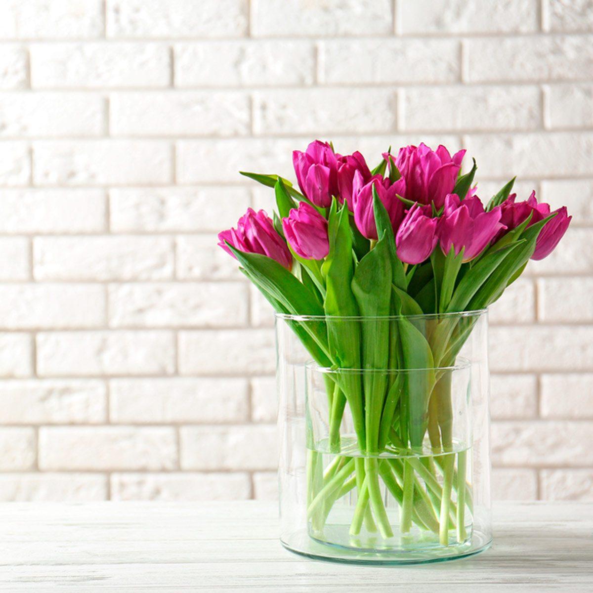 Vase of purple tulips