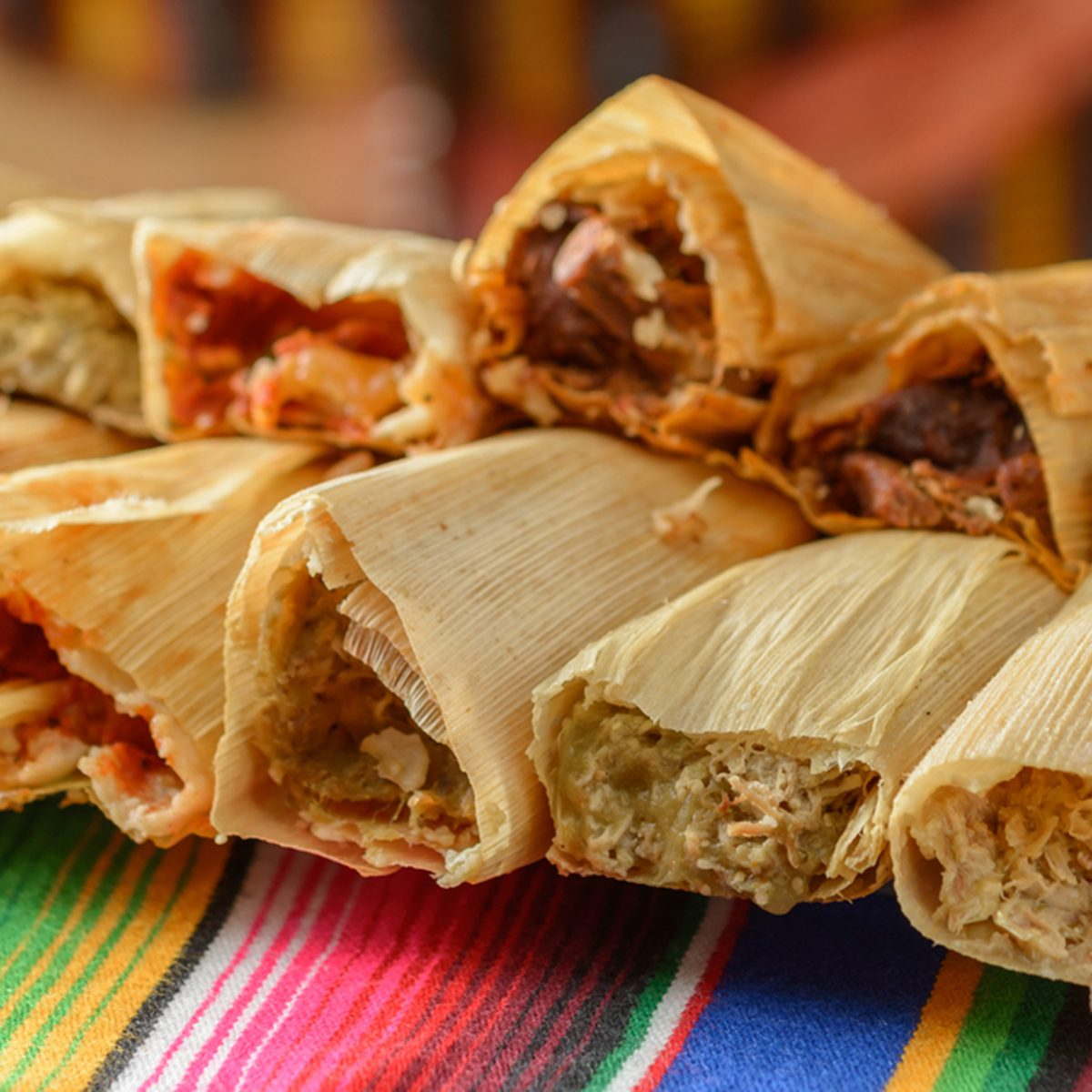 Colorful Traditional Mexican food dishes tamales