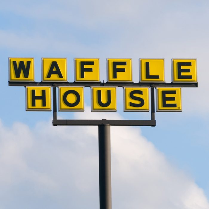 Waffle House exterior sign and logo.