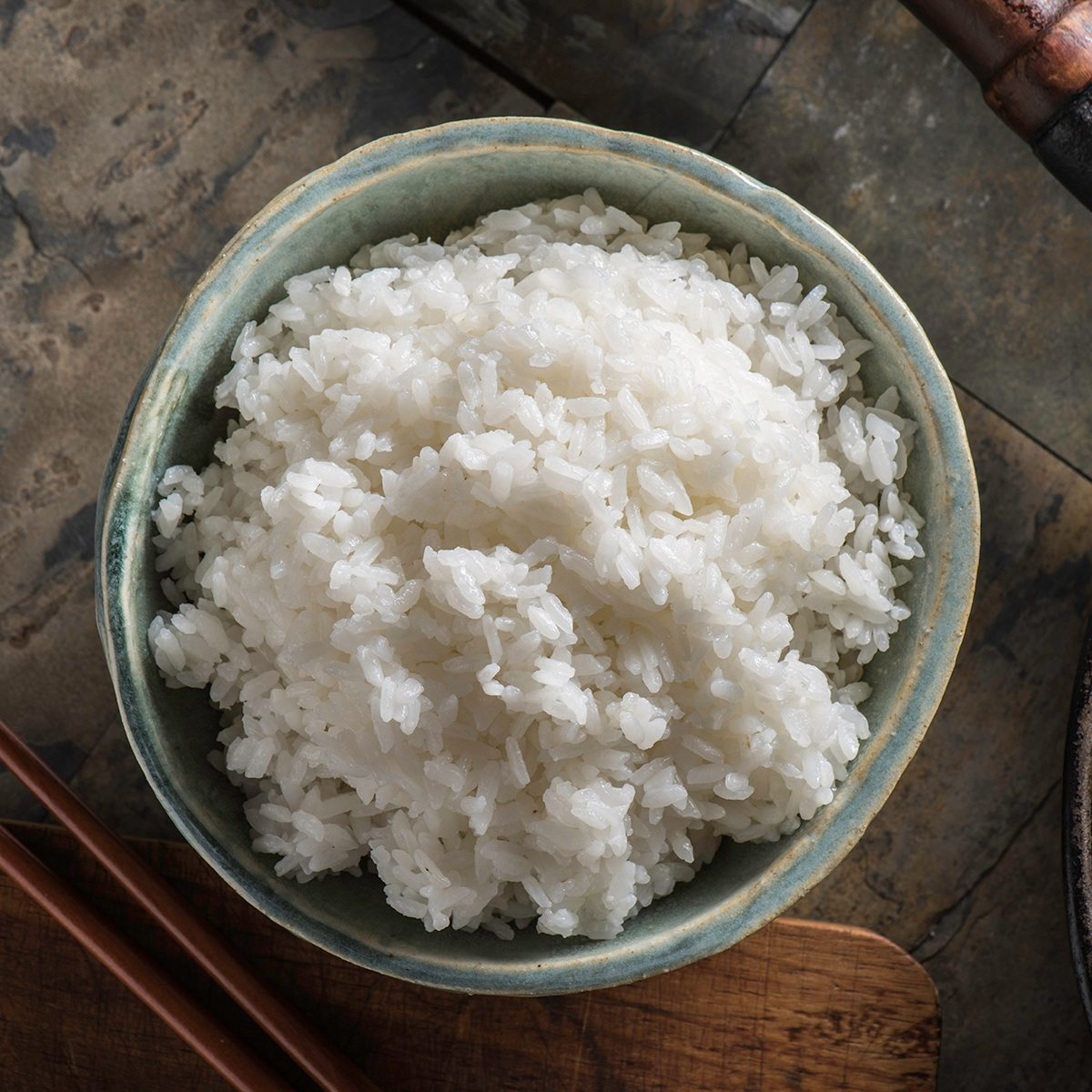 Steamed white rice in a bowl