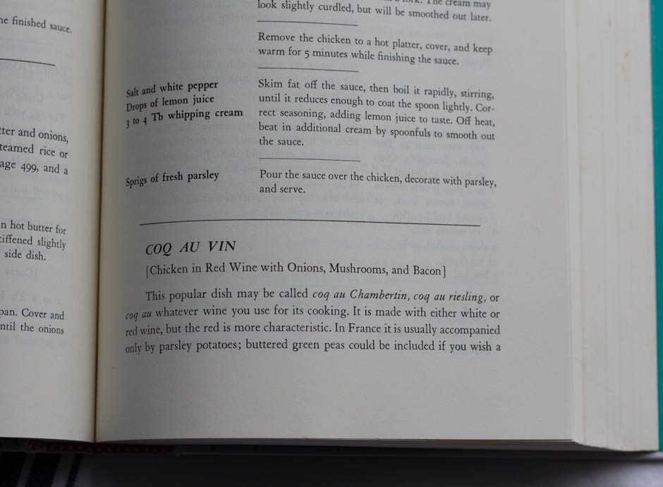 Photo of page from Mastering the Art of French Cooking showing Coq Au Vin recipe