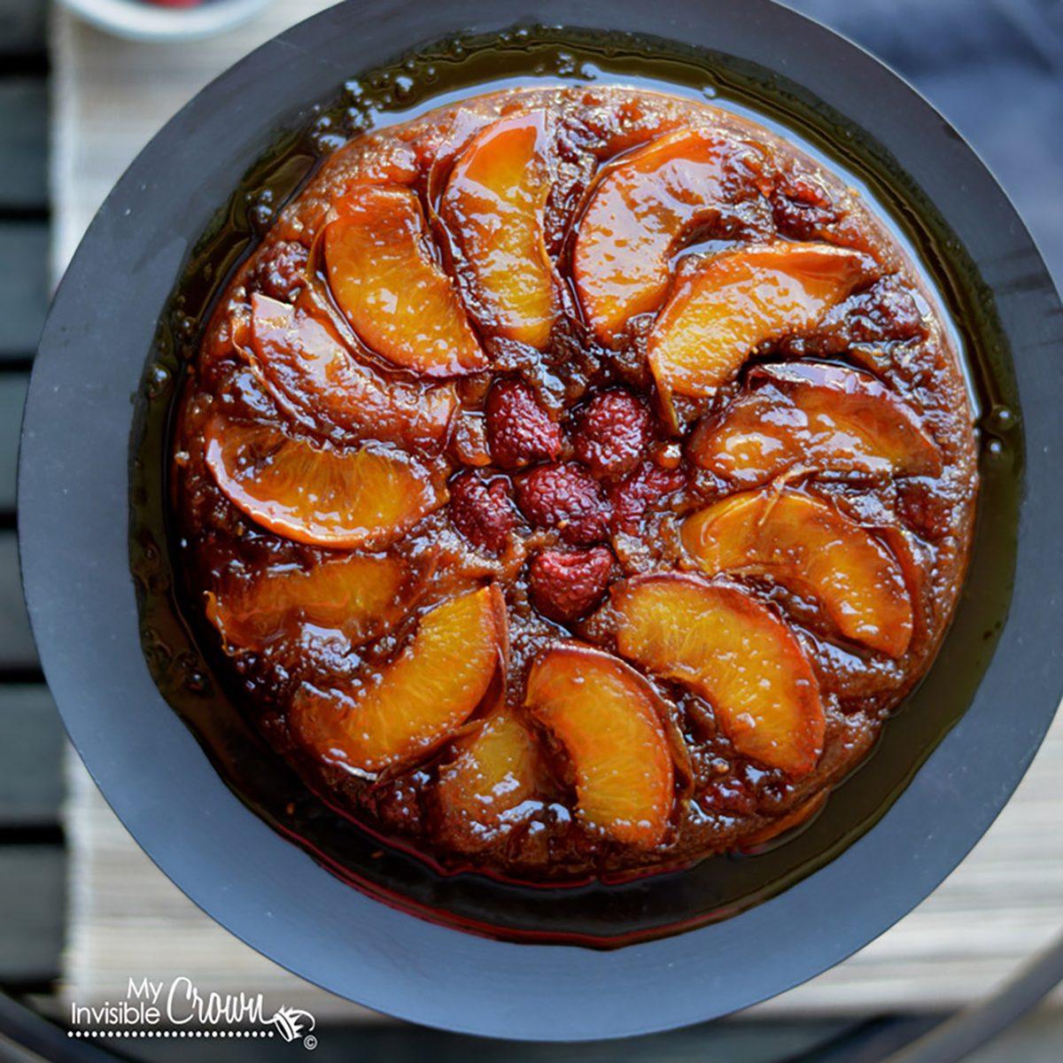 Raspberry Peach Upside Down Cake