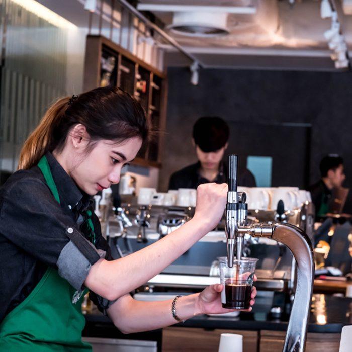 Starbucks barista with cold brew